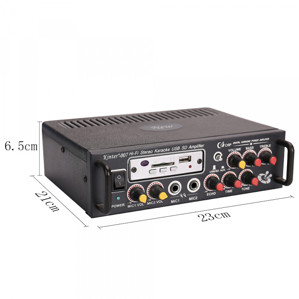 Amplificator digital, tip Statie, 2x25 W, telecomanda, USB-SD, 2 intrari microfon, briceag buzunar cadou 2