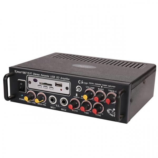 Amplificator digital, tip Statie, 2x25 W, telecomanda, USB-SD, 2 intrari microfon, briceag buzunar cadou 3