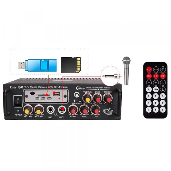 Amplificator digital, tip Statie, 2x25 W, telecomanda, USB-SD, 2 intrari microfon, briceag buzunar cadou 1