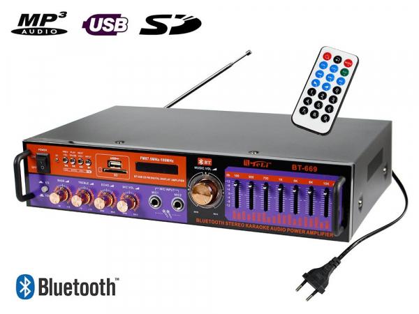 Amplificator digital, tip Statie, 2x20 W, Bluetooth, telecomanda, intrari USB, SD Card, microfon 0