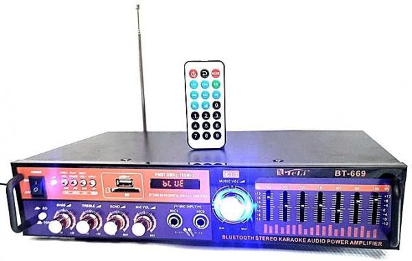 Amplificator digital, tip Statie, 2x20 W, Bluetooth, telecomanda, intrari USB, SD Card, microfon 2