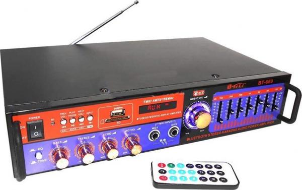 Amplificator digital, tip Statie, 2x20 W, Bluetooth, telecomanda, intrari USB, SD Card, microfon 3
