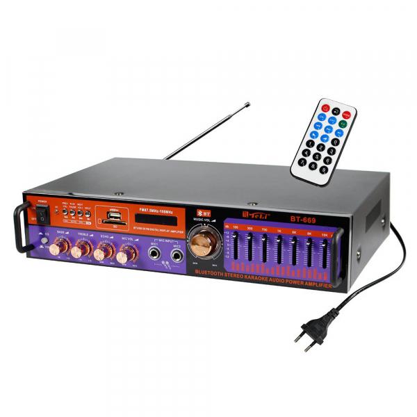 Amplificator digital, tip Statie, 2x20 W, Bluetooth, telecomanda, intrari USB, SD Card, microfon 1