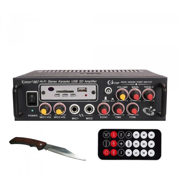 Amplificator digital, tip Statie, 2x25 W, telecomanda, USB-SD, 2 intrari microfon, briceag buzunar cadou 0