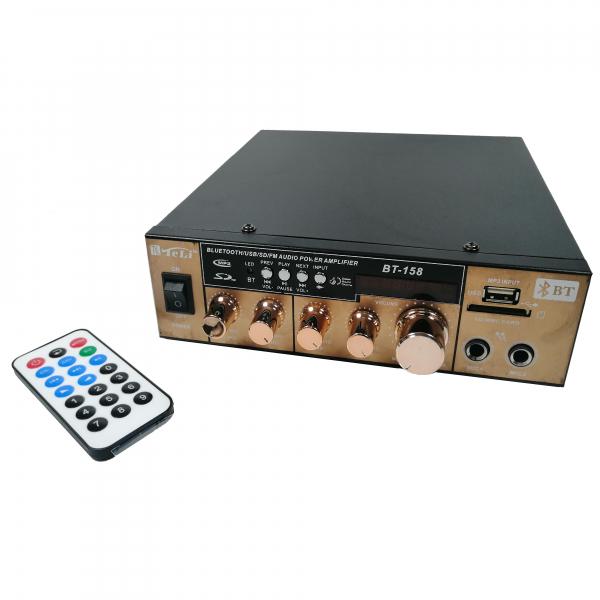 Amplificator bluetooth digital, tip Statie, 2x80 W, intrari USB-SD, doua intrari microfon 0