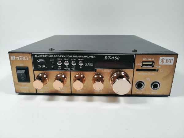 Amplificator bluetooth digital, tip Statie, 2x80 W, intrari USB-SD, doua intrari microfon 1