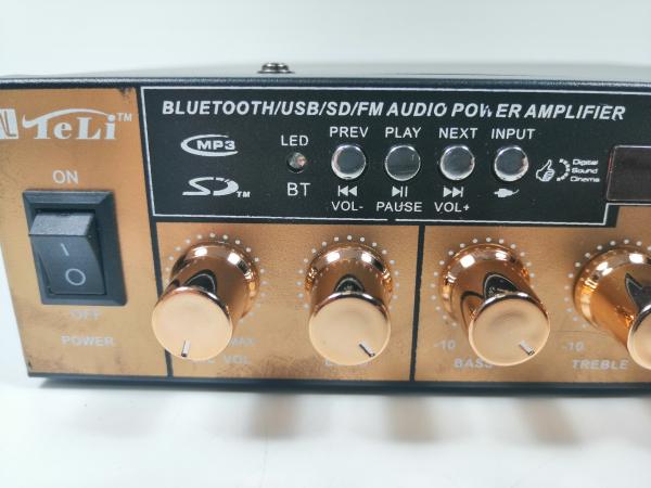 Amplificator bluetooth digital, tip Statie, 2x80 W, intrari USB-SD, doua intrari microfon 2