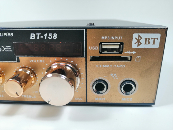 Amplificator bluetooth digital, tip Statie, 2x80 W, intrari USB-SD, doua intrari microfon 3