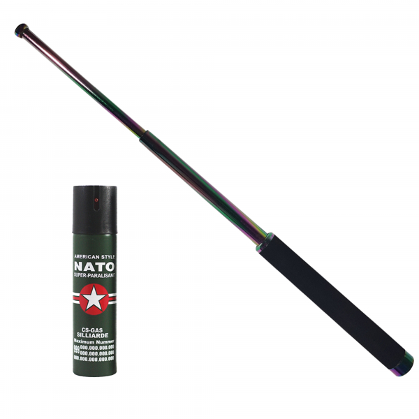 Baston telescopic 65 cm, rainbow, cadou spray NATO 60 ml 0
