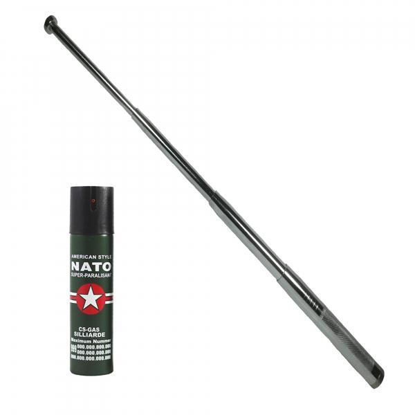 Baston telescopic 65 cm, argintiu, 4 sectiuni, cadou spray NATO 60 ml 0