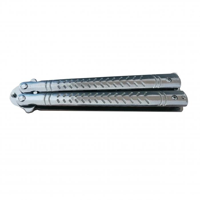 Briceag fluture antrenament, otel inoxidabil, Bullet Blade, 22 cm, argintiu [4]