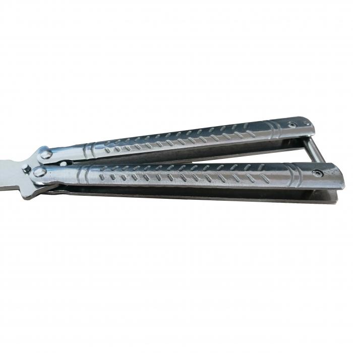 Briceag fluture antrenament, otel inoxidabil, Bullet Blade, 22 cm, argintiu [2]
