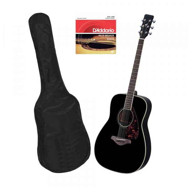 Set chitara clasica din lemn 95 cm, negru clasic, husa nylon si corzi acustice 0