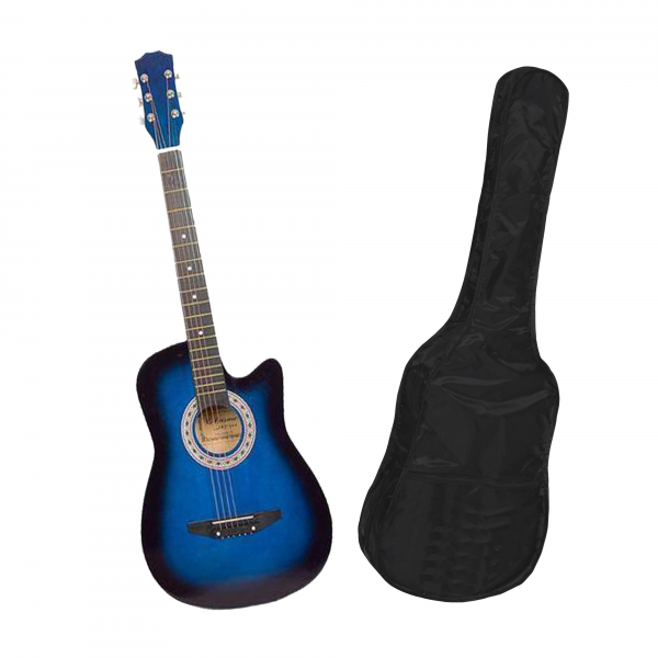 Chitara clasica din lemn 95 cm, albastru marin, husa nylon cadou [0]