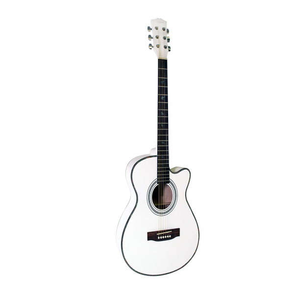 Chitara clasica din lemn 95 cm, Cutaway alb 0