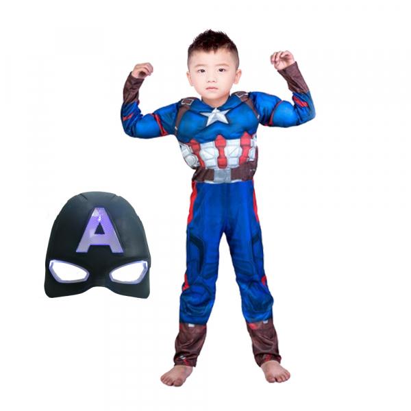 Costum Captain America Avengers Endgame cu muschi, marimea L, 7-9 ani, masca LED cadou 0