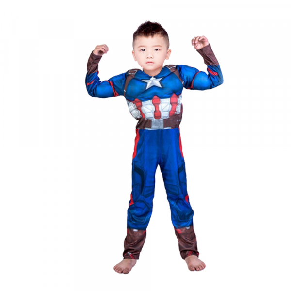 Costum Captain America Avengers Endgame cu muschi, marimea L, 7-9 ani, masca LED cadou 1