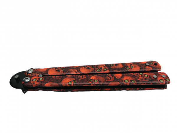 Cutit, Briceag fluture, Butterfly, Happy Orange Skulls, pentru antrenament, 22 cm 5