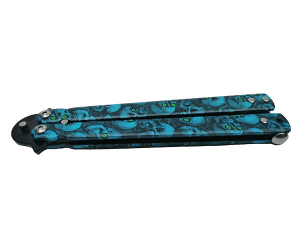 Cutit, Briceag fluture, Butterfly, Happy Blue Skulls, pentru antrenament, 22 cm 5
