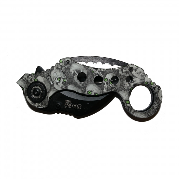 Cutit Karambit pliabil Skull-Trooper - Green Eyes, 18 cm 1