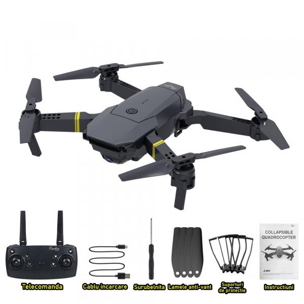 Drona micro pliabila, camera 720p, wi-fi, 2.4 gHz, neagra 2