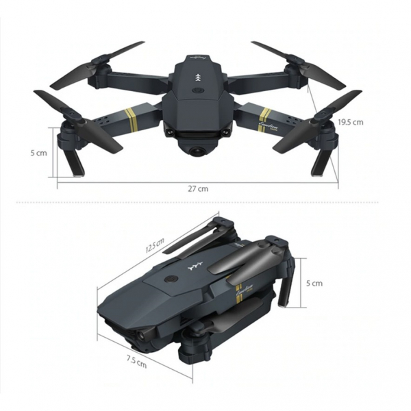 Drona micro pliabila, camera 720p, wi-fi, 2.4 gHz, neagra 3