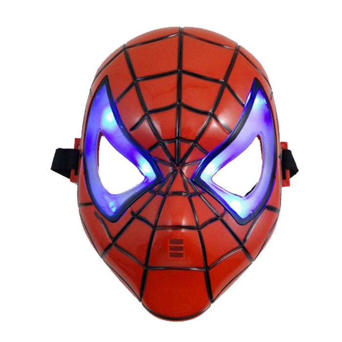 Set costum cu muschi Spiderman, 3-5 ani, manusa cu lansator si masca plastic LED, rosu [3]