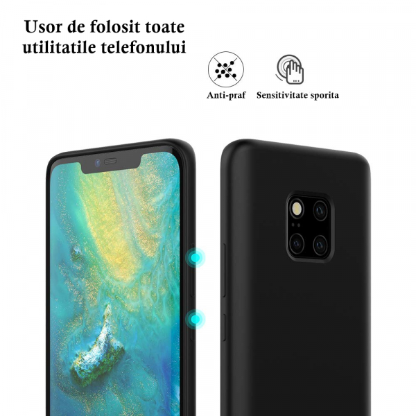 Husa pentru Huawei Mate20 Pro, Black Slim, Liquid Silicone 6