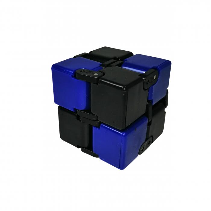 Jucarie antistres, cubul infinitului, 4 cm, plastic, negru-albastru [0]