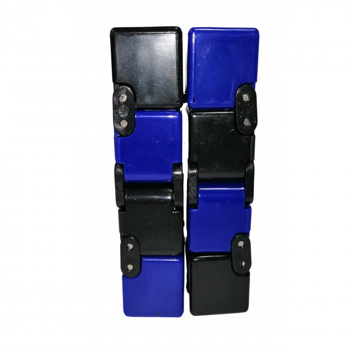 Jucarie antistres, cubul infinitului, 4 cm, plastic, negru-albastru [4]