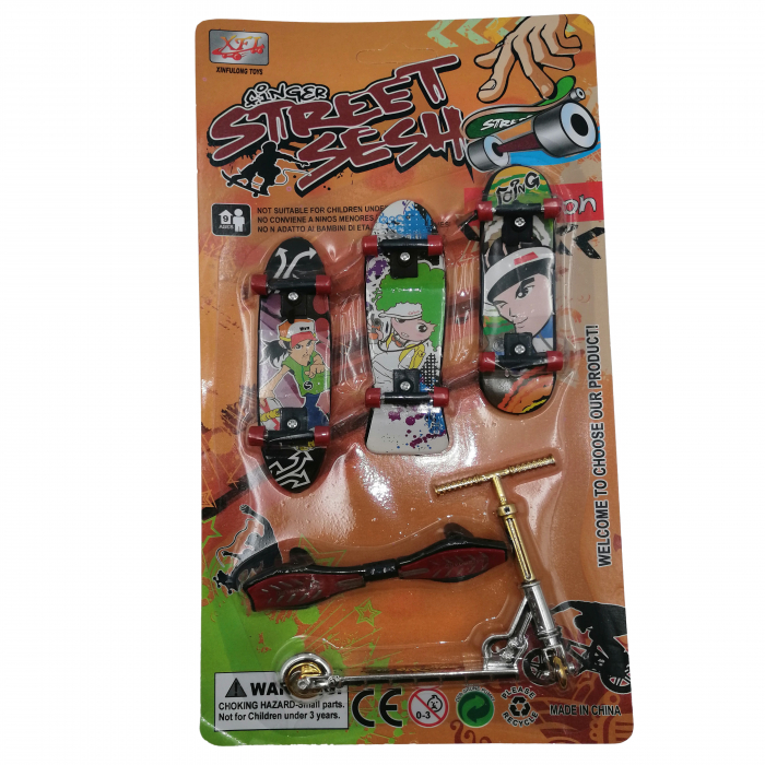 Set de mini jucarii, Fingerboard Street, plastic, multicolor [6]