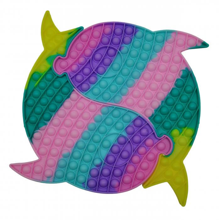 Jucaria antistres, Pop it Grand, model delfini siamezi, 41 cm, multicolor [0]