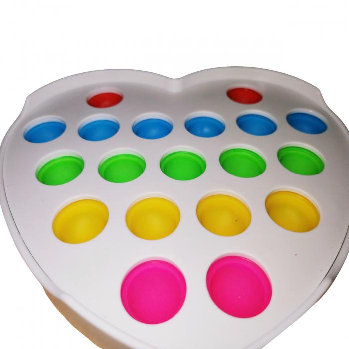 Jucarie antistres, Pop it, plastic, inima, 12 cm, alb [4]