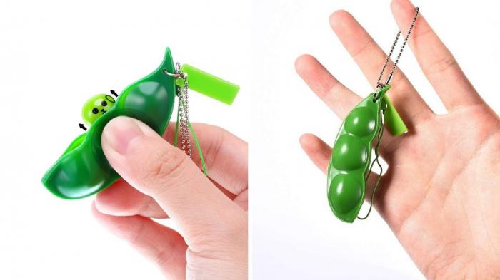 Jucarie antistres, pastaie de mazare, tip breloc, 6.5 cm, verde [3]