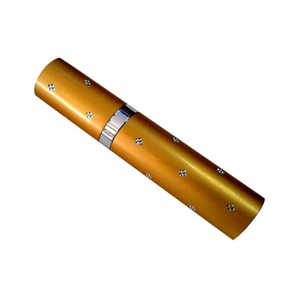 Mini electrosoc in forma de ruj cu lanterna, auriu