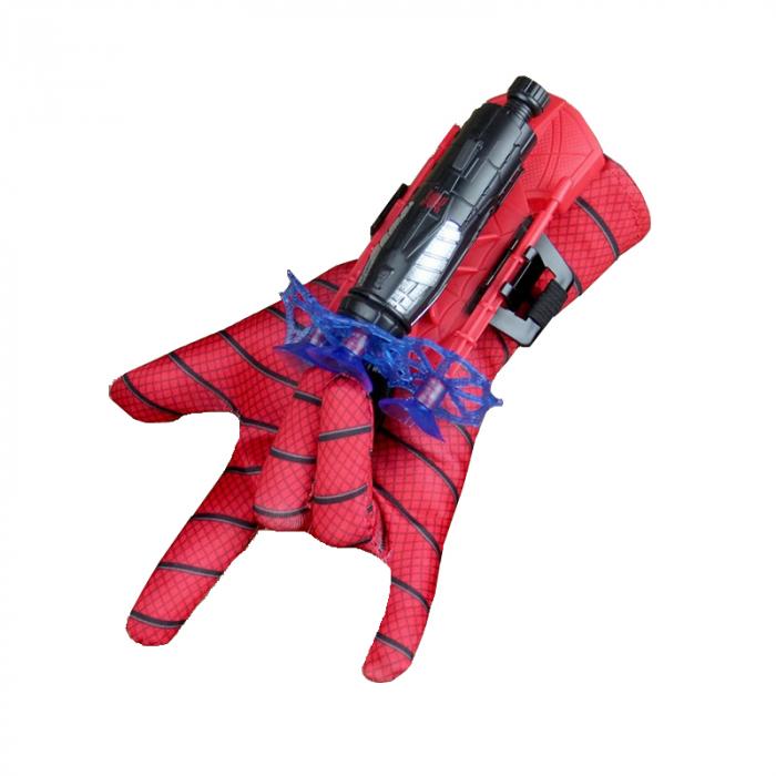 Set costum cu muschi Spiderman, 3-5 ani, manusa cu lansator si masca plastic LED, rosu [6]