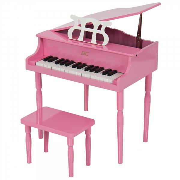 Pian de lemn pentru copii, scaun inclus, 48 cm, roz [0]