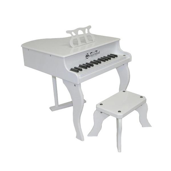 Pian de lemn pentru copii, scaun inclus, 48 cm, alb 0
