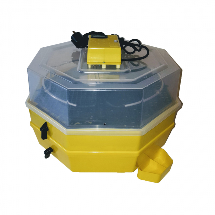 Incubator electric pentru oua cu dispozitiv dublu de intoarcere, termometru si hidrociclometru, alimentare exterioara apa Cleo, model 5X2-DTHA [0]