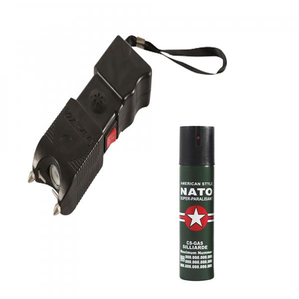 Electrosoc, negru, 400 KV, spray paralizant NATO 60 ml cadou 0