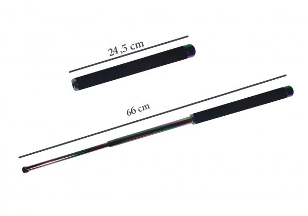 Set baston telescopic 66 cm + box argintiu 0.5 cm grosime 4