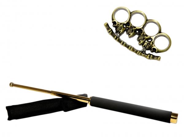 Set baston telescopic 65 cm auriu + pumnal craniu auriu 0