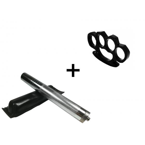 Set baston telescopic din otel, argintiu, 64 cm + box negru 1 cm grosime [0]