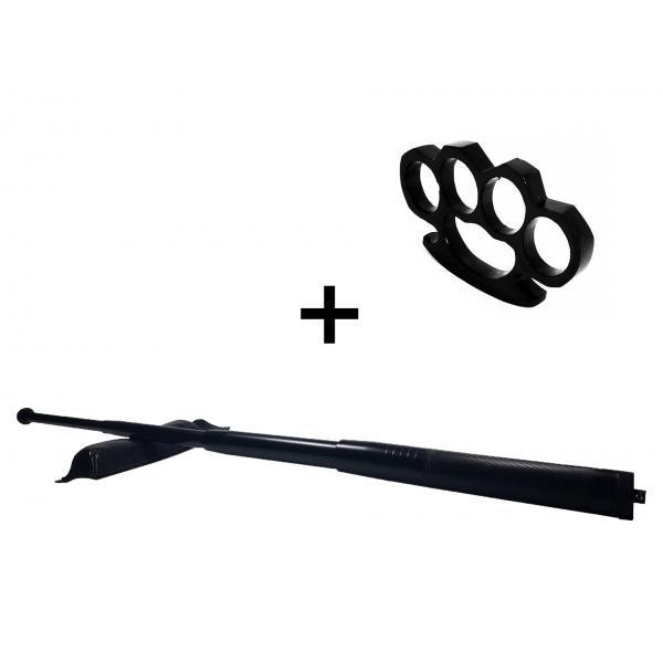 Set baston telescopic din otel, negru, 64 cm + box negru 1 cm grosime 0