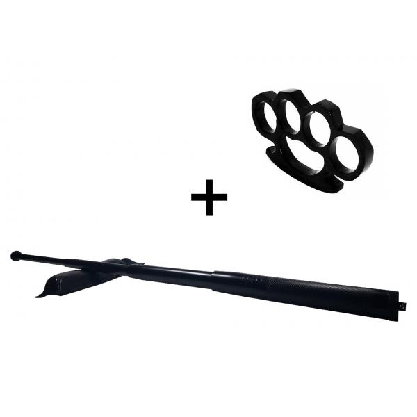 Set baston telescopic din otel, negru, 64 cm + box negru 0.5 cm grosime 0
