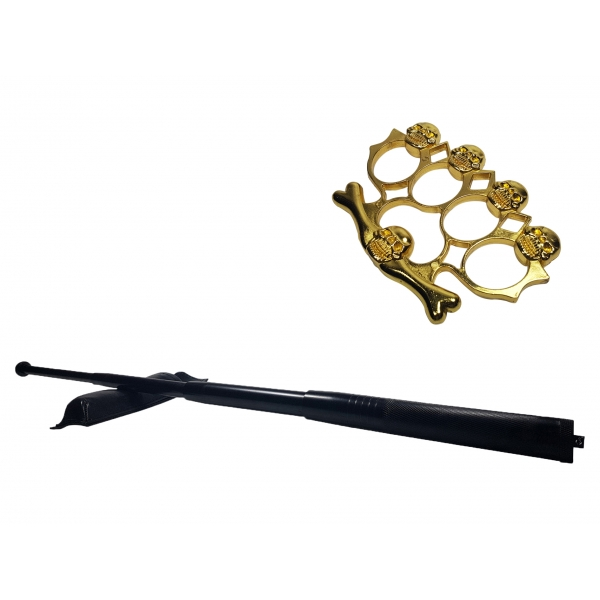Set baston telescopic din otel, negru, 64 cm + box-rozeta craniu auriu 0