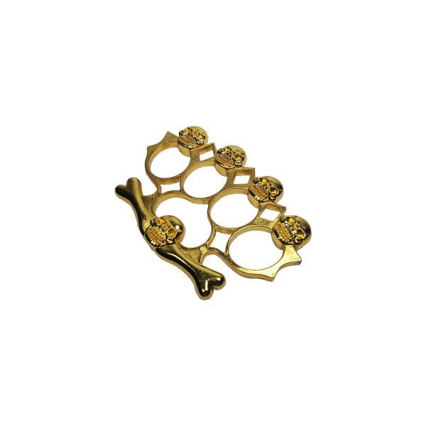 Set baston telescopic din otel, negru, 64 cm + box-rozeta craniu auriu 5