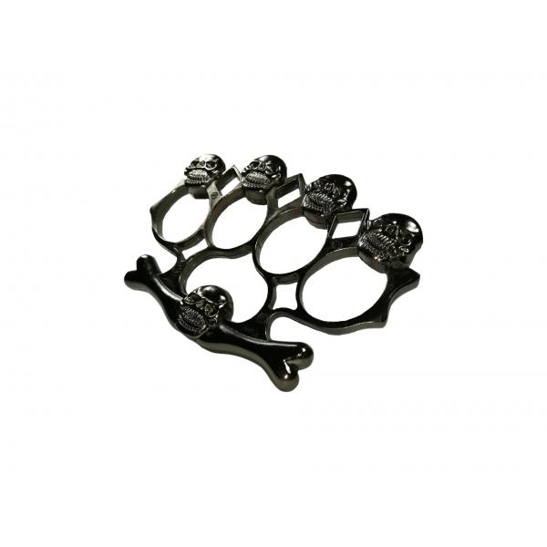 Set baston telescopic flexibil argintiu, maner cauciuc, 47 cm  + box,rozeta craniu negru 3