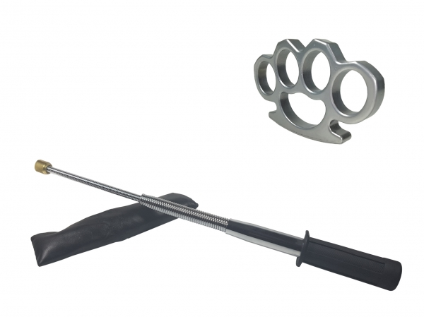 Set baston telescopic flexibil argintiu, maner cauciuc, 47 cm  + box argintiu 1 cm grosime [0]
