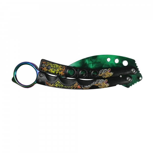 Set briceag fluture tip karambit Green Mist & cutit, briceag automat full metal 21 cm 3